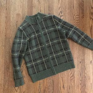 Vintage Kasper Zippered large plaid cardigan L